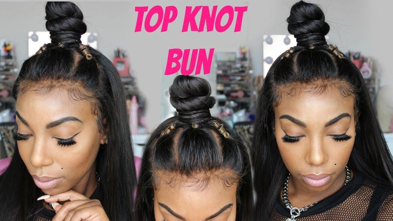 How To Top Knot Bun Ninja Bun Tutorial On Lace Frontal