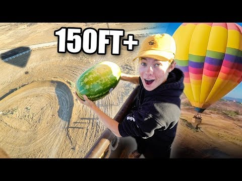 DROPPING a Giant Watermelon off HOT AIR BALLOON! *WATCH WHAT HAPPENS*