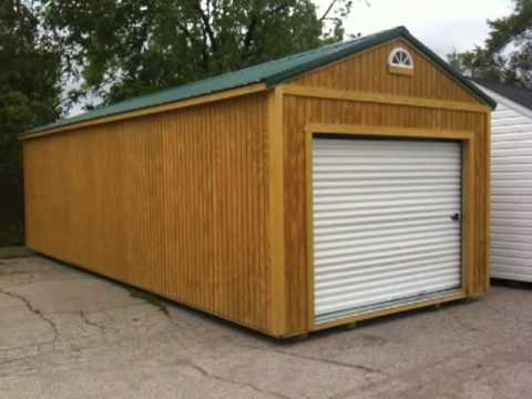Garden sheds portable buildings prefab garages metal for Prefabricated garage with loft