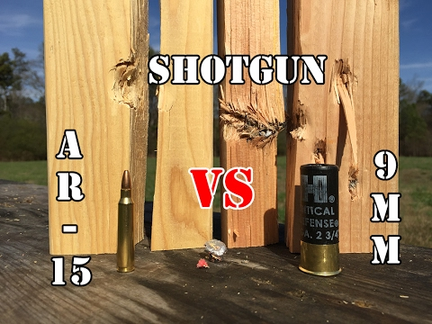 9mm vs AR 15 vs 12 Gauge... Home Defense: Wood Test