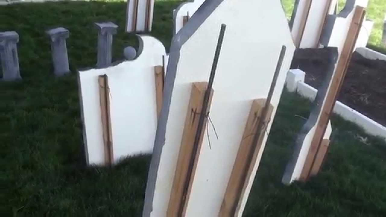 Halloween Tombstones Revisited, How I Secure Them In Place - YouTube