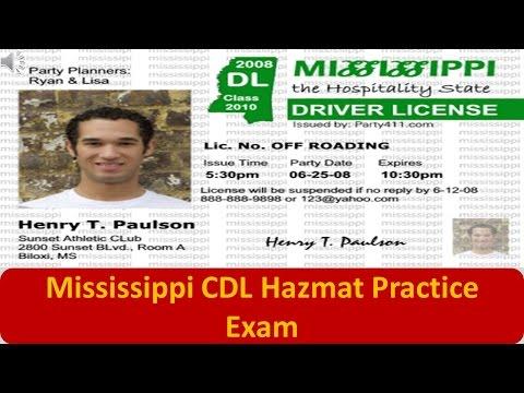 Mississippi CDL Hazmat Practice Exam