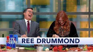 Ree Drummond Cooks Shrimp & Grits For Stephen Colbert