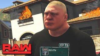WWE RAW 2K17 Story - Brock Lesnar Burns Kurt Angle's House Down  RAW (WWE GTA Mods)