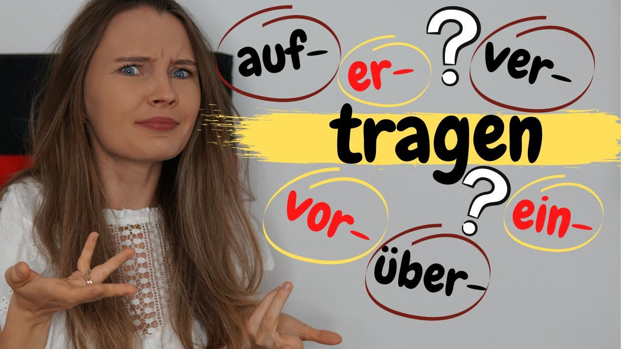"""Download Verben mit dem Wortstamm """"tragen""""    Deutsch lernen b2, c1"""