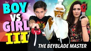Beyblade Battle Boy vs Girl : The Beyblade Master!  Episode 3   Funny Beyblade Burst Giveaway!