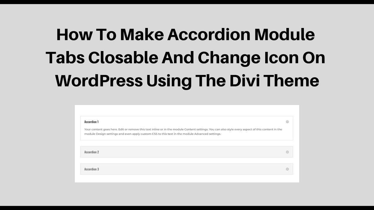 Accordion Open By Default Css