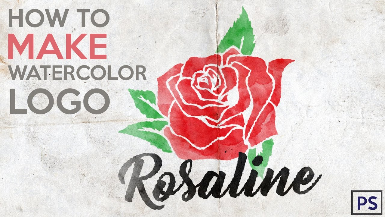 How To Make Watercolor Rose Tattoo Logo in Photoshop - YouTube
