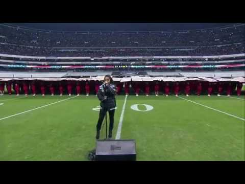 Becky G Singing USA's National Anthem At Raiders VS Texans Game In Mexico City.