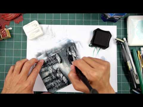 Stampscapes 101: Video 167.  Grey and Black color scheme base.