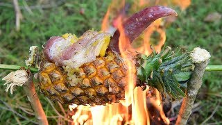 Primitive Technology Cooking n Eating - Life in Wild | Sausage Recipe Mix With Apple and Pineapple