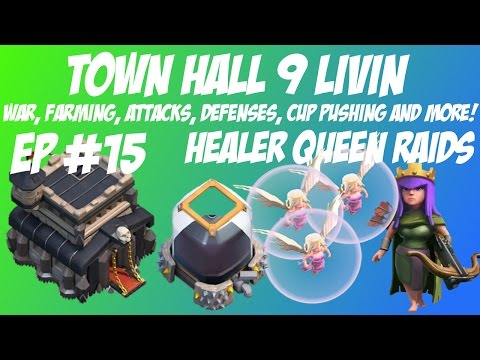 Town Hall 9 Healer Queen DE farming in Champion League!  Huge DE wins