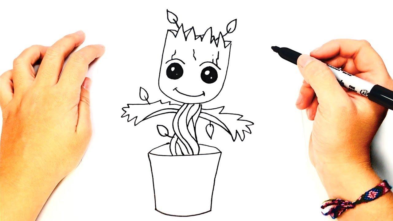 Dibujos Faciles De Colorear: Cómo Dibujar A Groot Paso A Paso