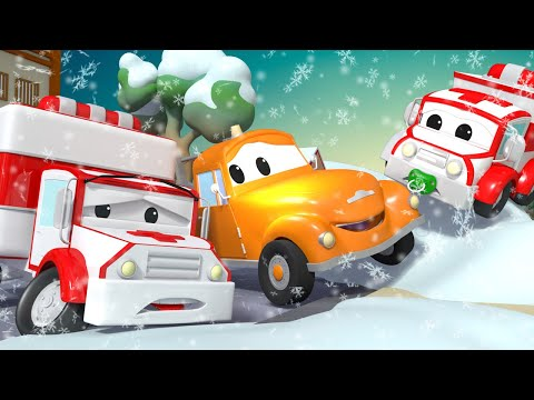 Tom the Tow Truck -  Amber the AMBULANCE cant start his ENGINE - Car City ! Trucks Cartoon for kids