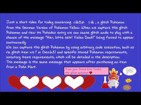 ♂ëôp ゥë F4s bad Pokédex entry in German Pokémon Yellow no text to speech
