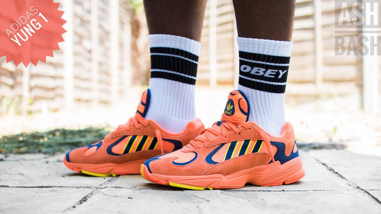 sneakers for cheap 81e2f 7ad8e Review + On Foot   Adidas Yung 1   Hi Res Orange   Ash bash