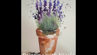 Waterrcolour paint this  'Pot of Lavender' in 10 minutes. Plus FREE course, see below.