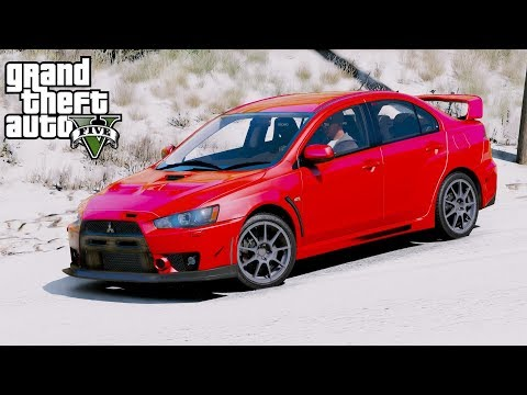 GTA 5 REAL LIFE MOD #43 Street Racing & Drifting In The Snow With Our Mitsubishi Lancer Evolution