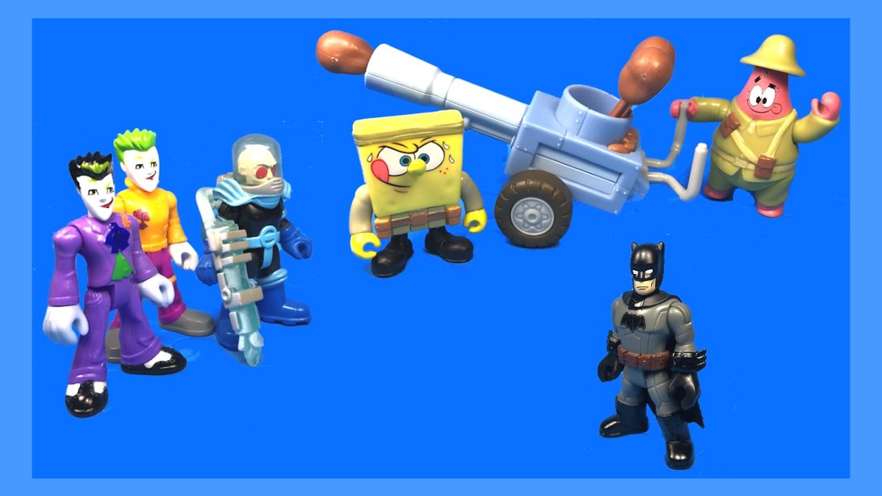 Imaginext Spongebob and Patrick Food Fight Help Batman with Potato Launcher  by Toy Pursuit