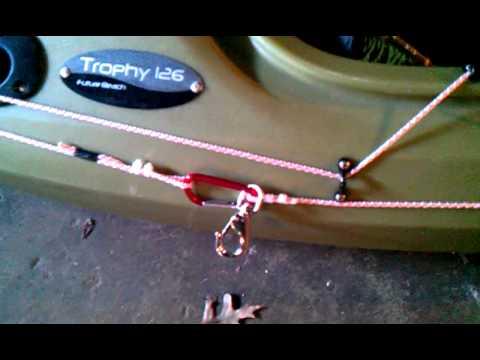 Kayak anchor trolley system youtube for Fishing kayak anchor