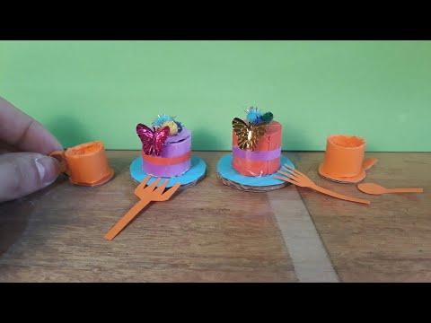 Make a small paper cake عمل كيك ورقي صغير للاطفال