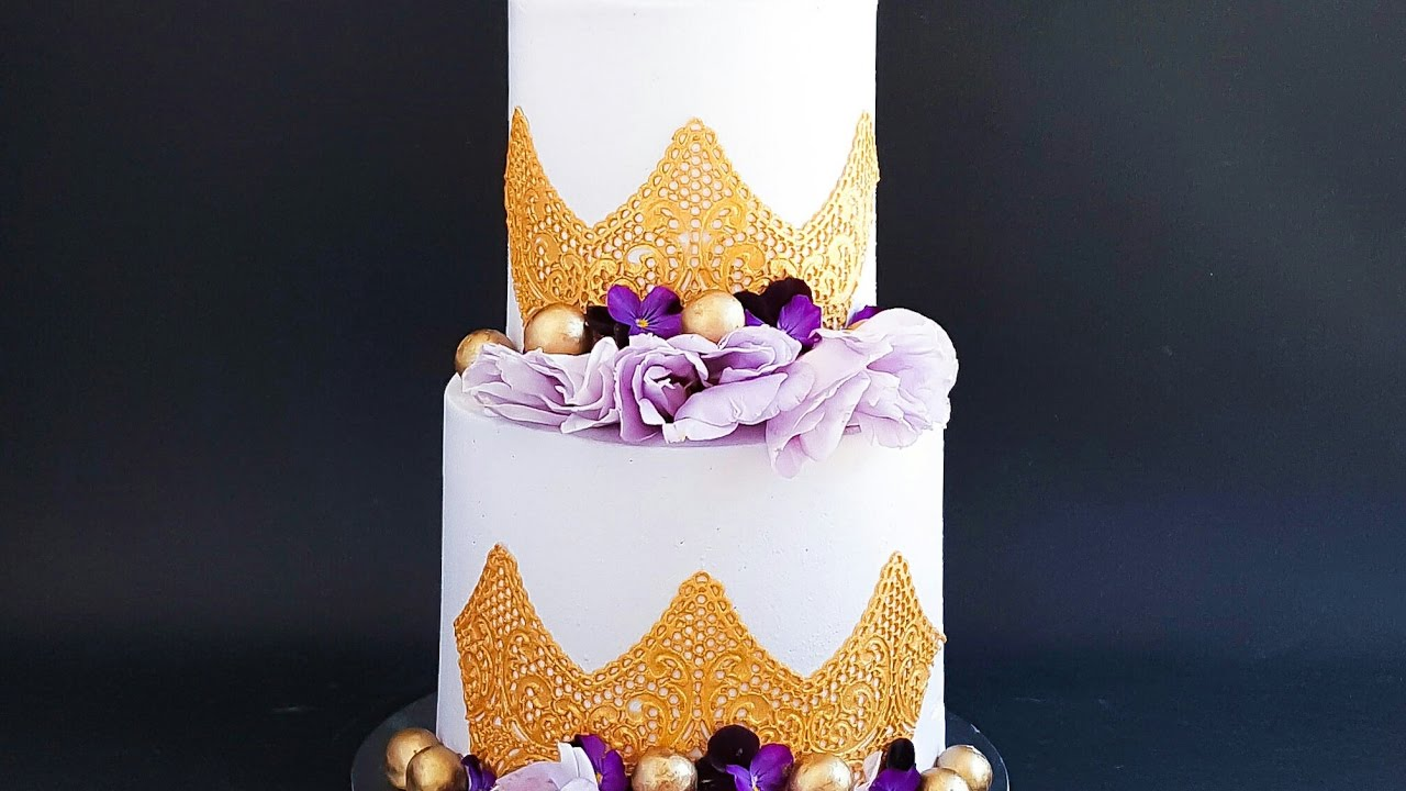 Purple and Gold Engagement Cake- Rosie\'s Dessert Spot - YouTube