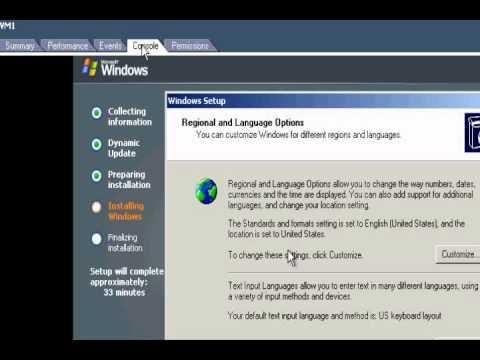 Virtual Machine: Installing Windows 2003