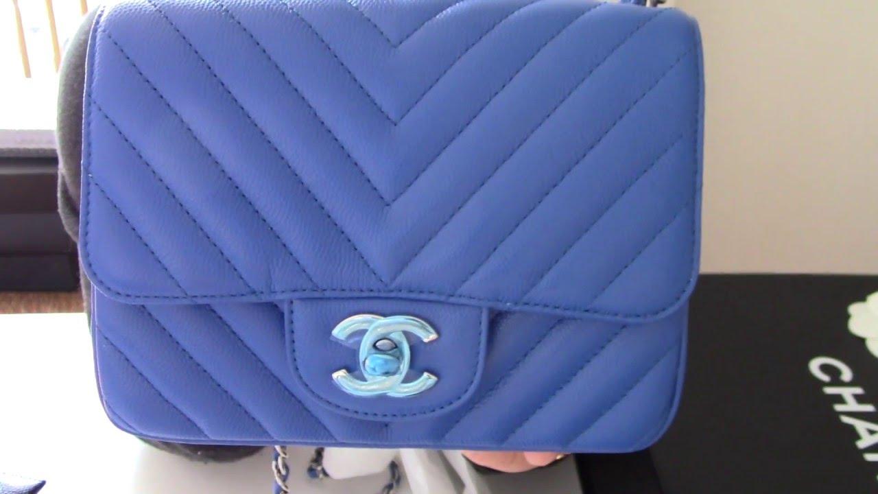 Review Chanel Mini Square in caviar chevron blue klein - YouTube 61c2660aa8418