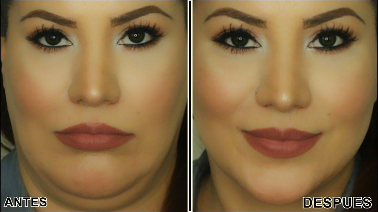 Adelgazar la cara maquillaje paso