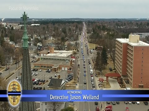 Aerial view of funeral and procession of Detective Jason Weiland