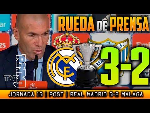 Real Madrid 3-2 Málaga Rueda de prensa de Zidane (25/11/2017) | POST LIGA JORNADA 13