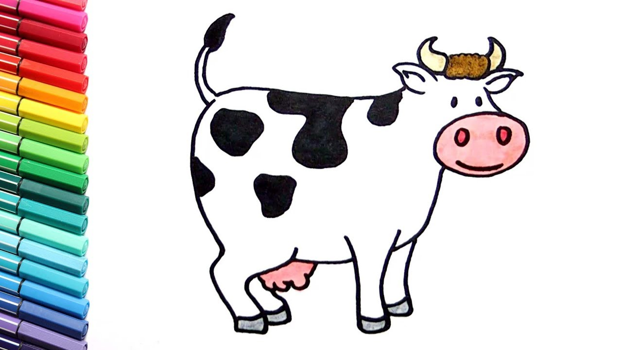 How to Draw a Funny Cow Color Pages - Farm Animals Cartton Nursery ...
