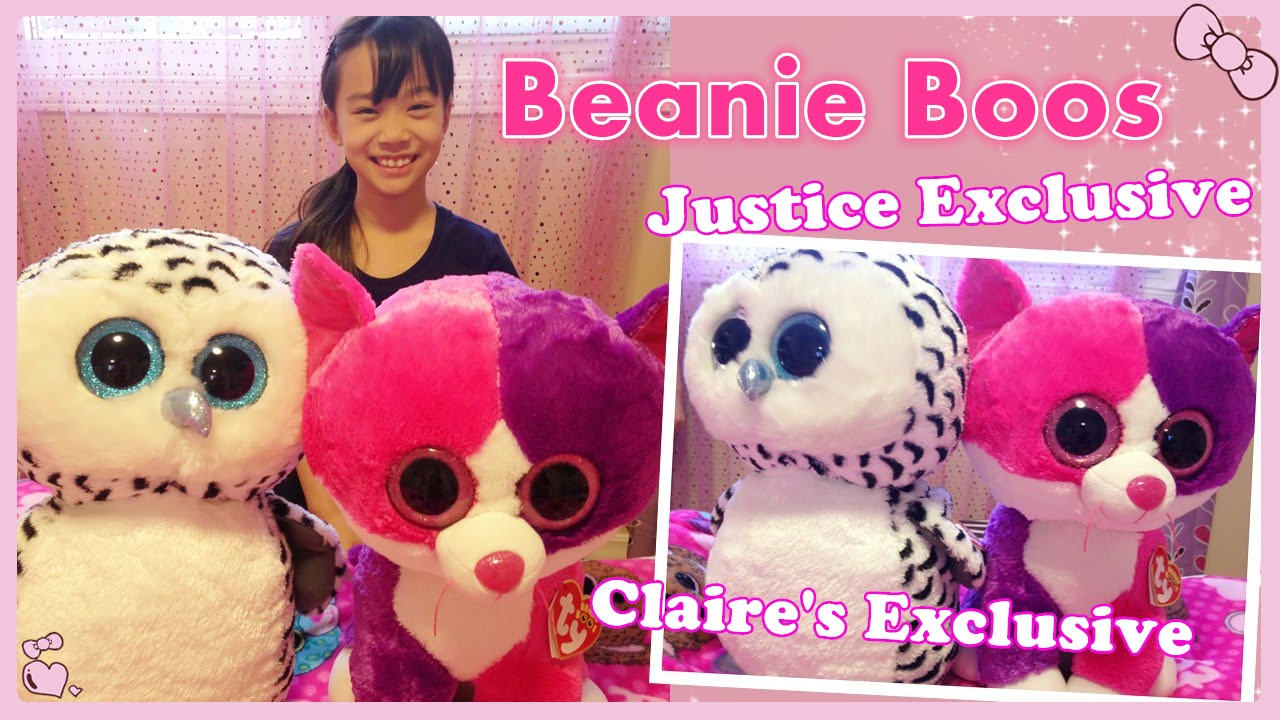 Beanie Boo Collection - Justice   Claire s Exclusive Large Size Beanie Boos  - YouTube 489e13711f8c