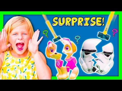 ASSISTANT Surprise Smash Piggy Banks With Paw Patrol + Funny Funny Kids Surprise Toys Video