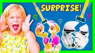 ASSISTANT Surprise Smash Piggy Banks With Paw Patrol + Peppa Funny Kids Surprise Toys Video