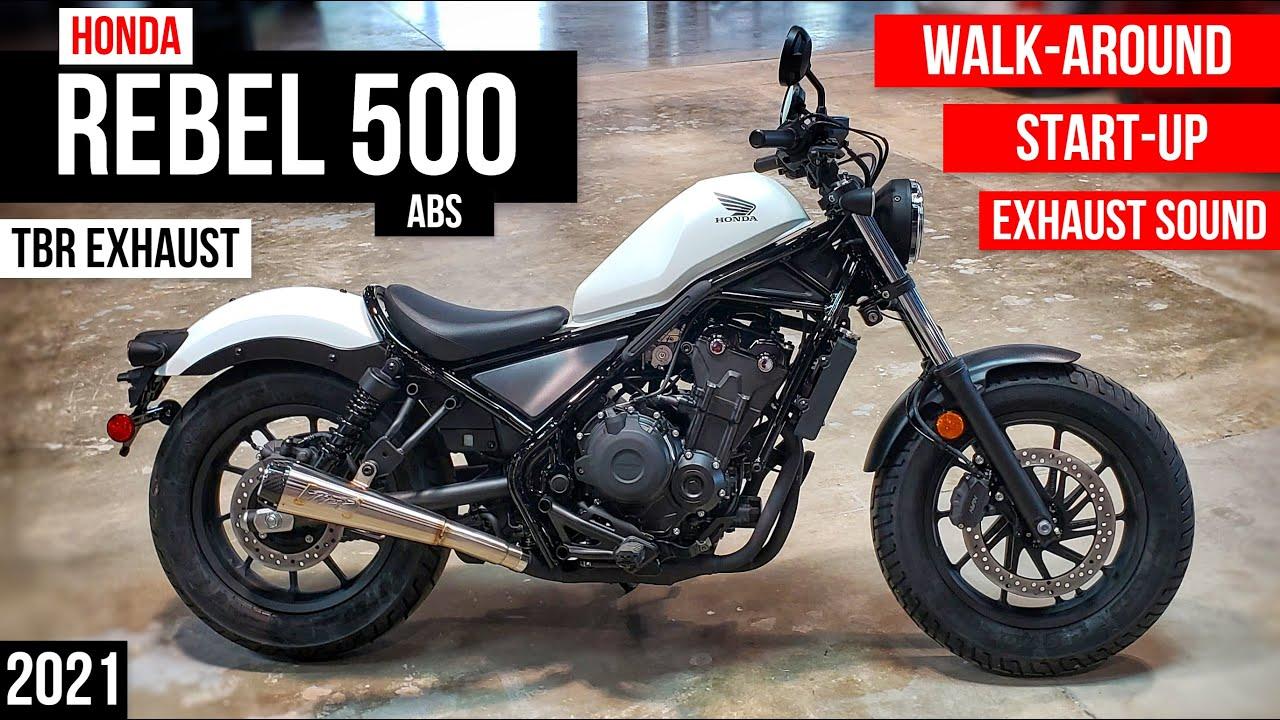 2021 Honda Rebel 500 ABS + TBR / Two Brothers Exhaust Walkaround & Sound   CMX500 Cruiser Motorcycle