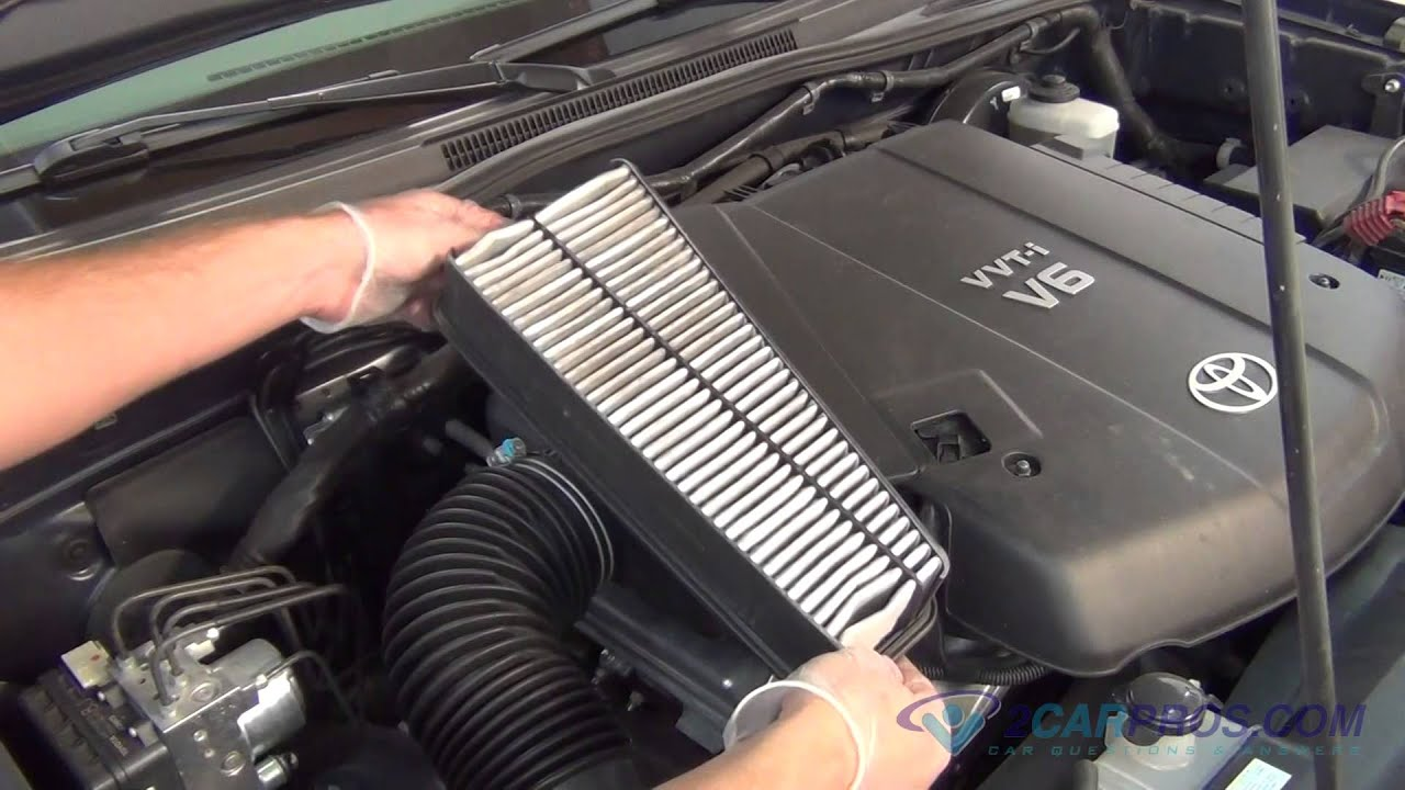 2012 tacoma fuel filter air filter replacement toyota tacoma v6 2005-2015 - youtube