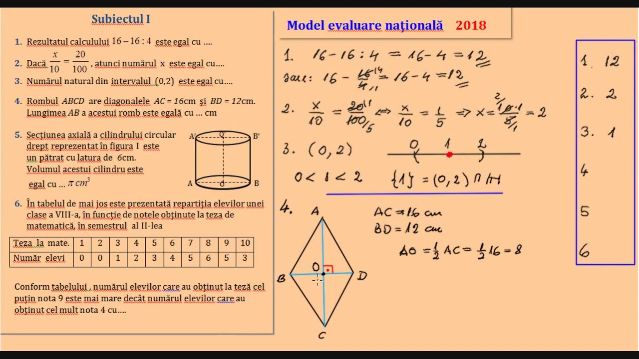 Simulare Clasa A 8 A 2019 Romana Update: Simulare Clasa A 8 A 2018 Matematica