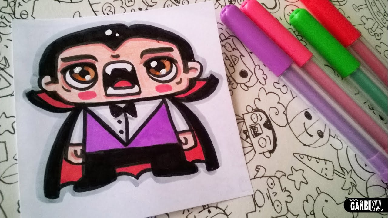 Halloween Drawings - How To Draw Cute Dracula by Garbi KW ...