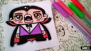 Halloween Drawings - How To Draw Cute Dracula by Garbi KW