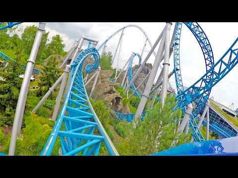 4K Blue Fire Roller Coaster Front Seat POV Europa Park Germany