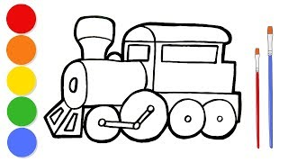 Glitter Train coloring and drawing for kids and toddlers | Learn colors | ArtLand