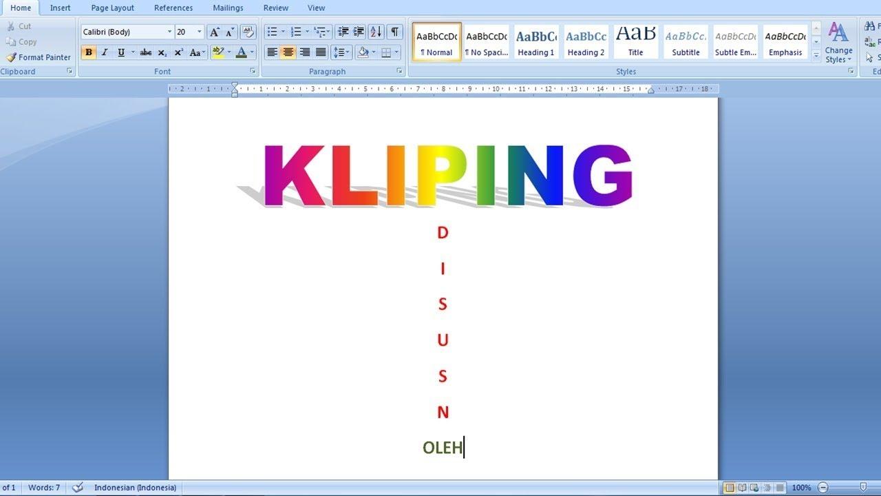 Cara Membuat Tugas Kliping Sekolahan Di Microsoft Word 2007 Lengkap