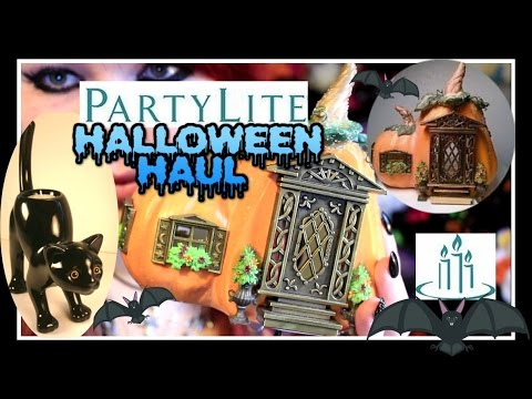 partylite halloween haul pumpkin cottage and black cat candle holders