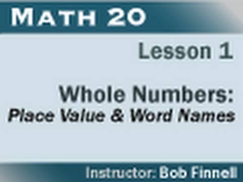 Math 20 - Lesson 1