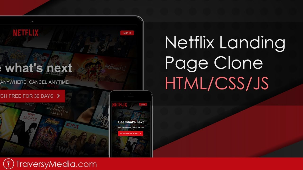 Build a Netflix Landing Page Clone with HTML, CSS & JS