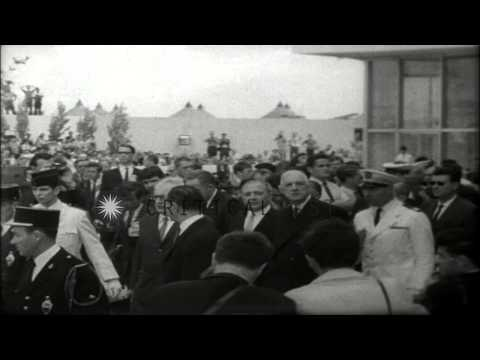 French President Charles DeGaulle visits Canada. HD Stock Footage