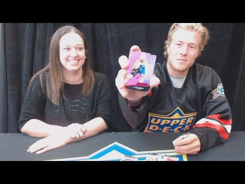 Brock Boeser of The Vancouver Canucks Opening Some UD Hockey Packs