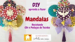 Faça uma Mandala do Divino Reciclando Tecidos, CDs e Rendas