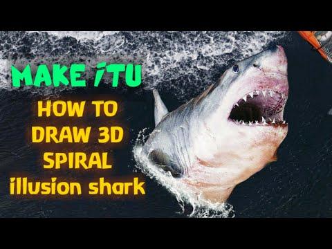 HOW TO DRAW A 3D SPIRAL SHARK